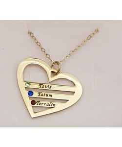 Tavis, Tatum, Terralin Gold Plated Birthstone Heart Engraved Names