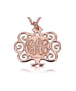 14k Rose Gold Monogram Necklace with Tree Design Pendant