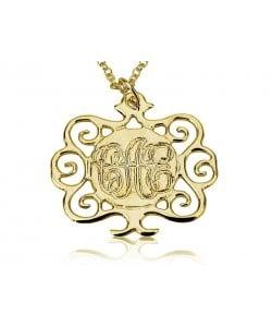 14k Gold Monogram Necklace - Tree Design