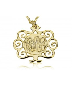 18k Gold Engraved Circle Monogram Necklace with Tree Design