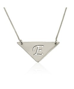 Sterling Silver Triangle Pendant with Initial Engraved