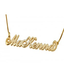 Two names and two capital letters in gold plate