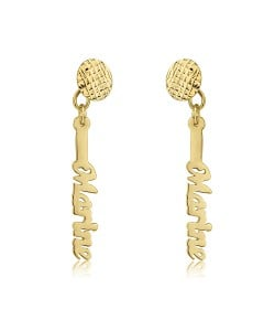 Vertical Earrings with name in 10k yellow gold