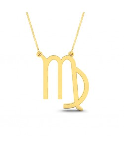 Virgo zodiac sign necklace in yellow gold with box chain - One of the elements in astrology