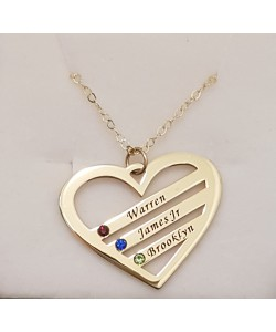Warren, James, Brooklyn Gold Plated Birthstone Heart Engraved Names