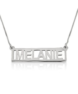 White gold bar necklace name with 14k gold chain