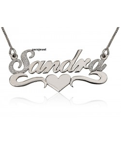 name necklace with lower heart style