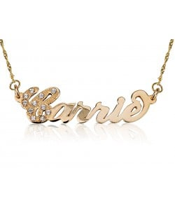 Yellow Solid Gold  Carrie style First Letter Swarovski name necklace