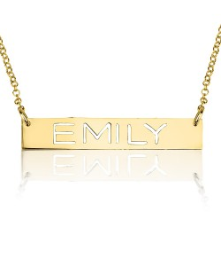 Yellow gold bar laser cut name jewelry - Come with rolo chain in gold